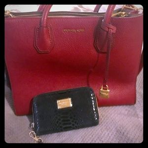 Michael Kors red handbag and MK wristlet